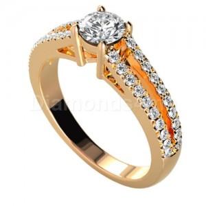 טבעת אירוסין דואט עם יהלומים לבנים