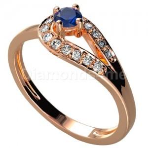 """טבעת אירוסין """"פריס"""" בזהב אדום וספיר כחול"""