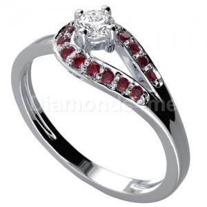 """טבעת אירוסין """"פריס"""" בזהב לבן יהלום ורובינים"""