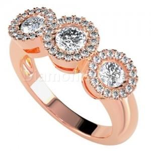 """טבעת יהלומים דגם """"הינדה"""" בזהב אדום"""
