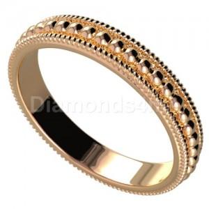 טבעת נישואים כדורים בזהב אדום