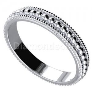 טבעת נישואים כדורים בזהב לבן