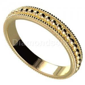 טבעת נישואים כדורים בזהב צהוב