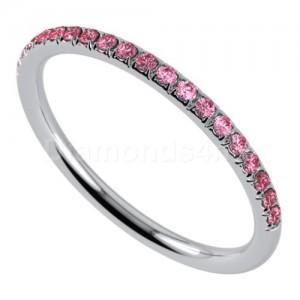 """טבעת""""רומנטיק"""" בזהב לבן וספיר ורוד"""