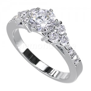 """טבעת """"לימור"""" בזהב לבן ויהלומים לבנים"""