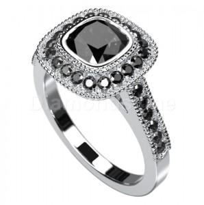 """טבעת """"רולין"""" זהב לבן יהלומים שחורים"""