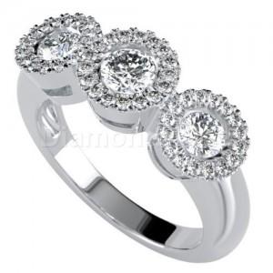 """טבעת יהלומים דגם """"הינדה"""" בזהב לבן"""