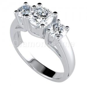 """טבעת אירוסין """"טרילון"""" בזהב לבן"""